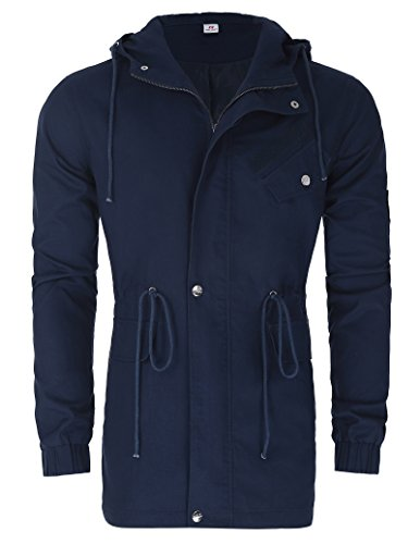Men's Buttoned Placket Hooded Windbreakers (M, Navy (Buttoned Placket)