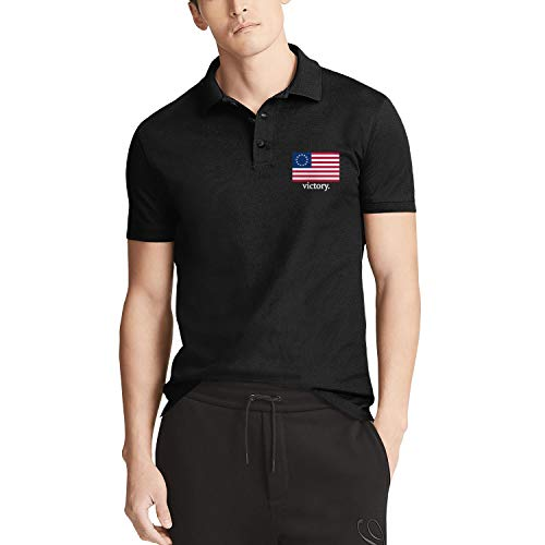 (American Betsy Ross Flag Victory Mens Polo T Shirt Comfortable Tennis Short Sleeve Shirt)