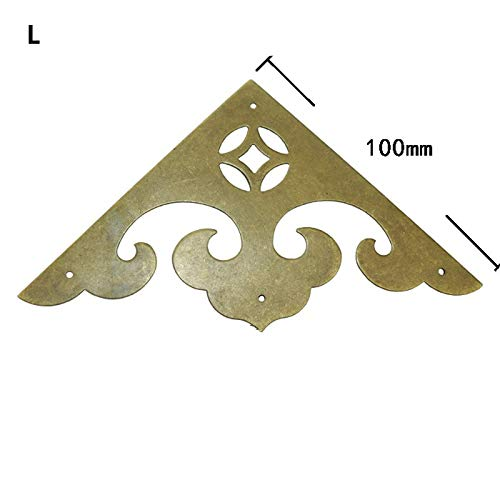 BIG-DEAL_Wholesale Triangle Brass Coner Cabochon,Chinese Ancient Vintage Cover,Flatback Embellishments Scrapbooking,Wine Wooden Box Decor - (Color:S)