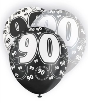 Happy 90th Birthday Balloons (6 Black Sparkle Happy 90th Birthday 12