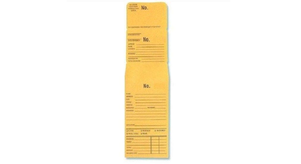 3-Part Repair or Lay-Away Envelope # 5001-6000 Box of 1000