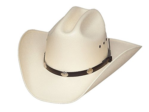 Classic Cattleman Straw Cowboy Hat with Silver Conchos and Elastic Band - White -L/XL