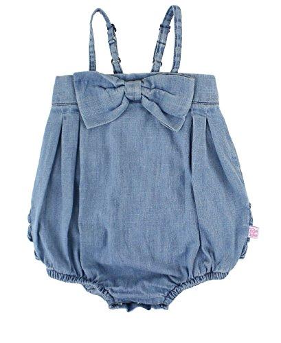 RuffleButts Baby/Toddler Girls Light Wash Denim Bow-Front Bubble Romper - ()