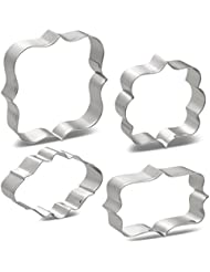 LILIAO Plaque Cookie Cutters Set Frame Fondant Cutters - 4 Piece - Oval: 3.5 Inches, Square: 4.3 Inches, Rectangle: 3.5 Inches & Photo: 3.5 Inches - Stainless Steel