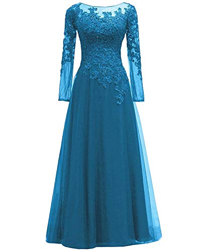- EEFZL Women's Lace Appliques Mother of The Bride Dress Tulle Long Sleeves Evening Prom Gown Beaded Blue US14