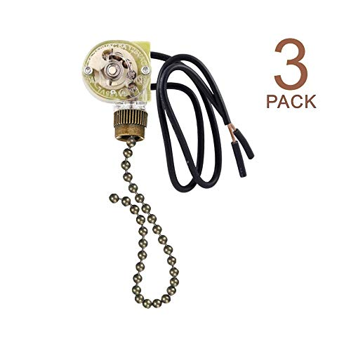 Pull Chain Switch Zing Ear ZE-109 Ceiling Fan Switch Ceiling Fan Light Lamp Replacement 3 Pack Bronze