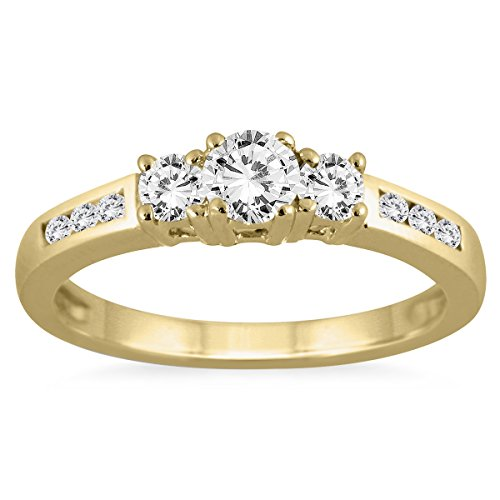 - AGS Certified 1/2 Carat TW Diamond Three Stone Ring in 10K Yellow Gold (K-L Color, I2-I3 Clarity)