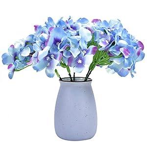 Timoo Silk Hydrangea Flowers Artificial Blue Hydrangea Heads for Home Wedding Decor, Pack of 10 42