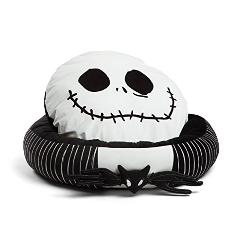 (Disney Nightmare Before Christmas Jack Skellington Bolstered Round Bumper Dog Bed / Cat Bed with Removable Toy Bat (includes squeaker), Reversible Insert, Dirt/Water Resistant Bottom, 24