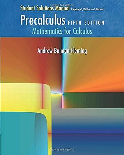 student solutions manual for stewart redlin watson s precalculus rh amazon com Calculus Stewart Author Stewart Calculus Book