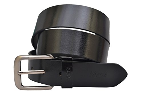 Nerita Men's Formal Casual Genuine Leather Belt with pin Buckle in 35 mm Width Black Texas Leather