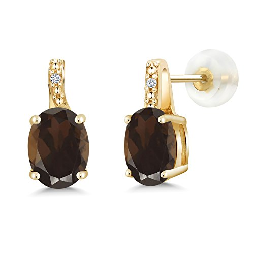 (Gem Stone King 2.41 Ct Oval Brown Smoky Quartz White Diamond 10K Yellow Gold Earrings)