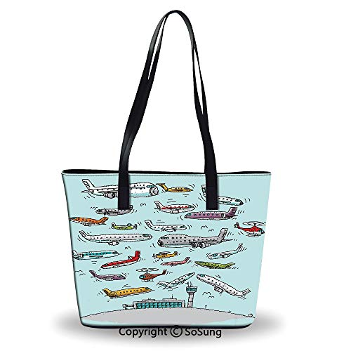 Women's Tote Shoulder Bag,Planes Fying in Air Aviation Love Airport - Jet Correction Air