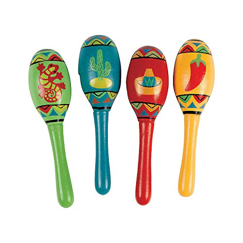 Mini Wooden Fiesta Maracas Assorted color and design (1 dz)]()
