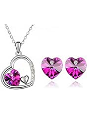 Swarovski Elements Gold Plated Heart Necklace Earrings Couple Ring Jewelry Set (MM0081)