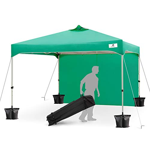FinFree 10×10 FT Compact Ez Pop up Canopy Tent Outdoor, Folding Canopy Tent, Instant Canopy with 1 Sidewall and Wheeled Carry Bag, Green