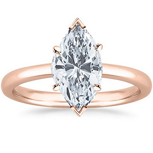14K Rose Gold Marquise Cut Solitaire Diamond Engagement Ring (0.52 Carat F-G Color VS1 Clarity) (Vs1 Solitaire Cut Diamond Marquise)