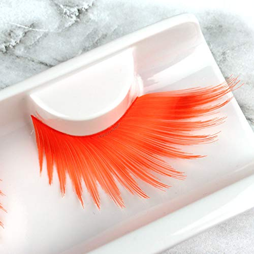 Spiky Neon Orange Color Drag Lashes for Pride,