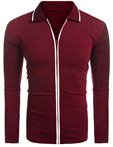 (COOFANDY Mens Full Zip Polo Shirt Slim Fit Casual Cotton Contrast T Shirts)