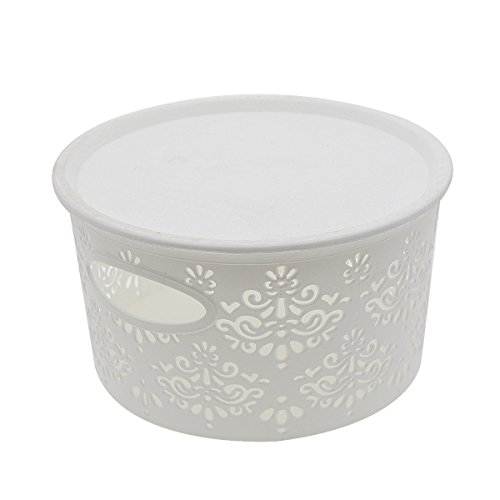 Saim Plastic Round Shaped Hollow Flower Pattern Household Storage Organizer Container With Lid - White (Flower Pattern Hollow)