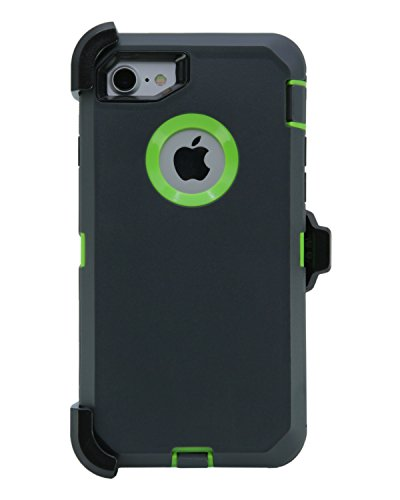 WallSkiN Turtle Series Cases for iPhone 7 / iPhone 8 (Only) Full Body Protection with Kickstand & Holster - The Oxbow (Dark Grey/Green) (Otter Green Box)