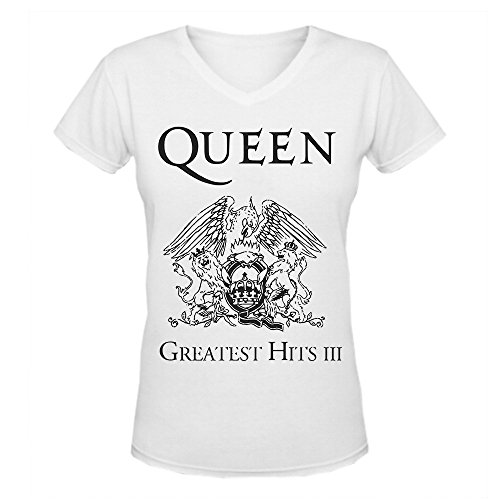 DIYCloTH Women's Greatest hits album by Queen Short V T-shirt White L
