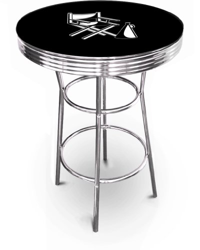 New Movie Theater & Popcorn Themed 42'' Tall Chrome Metal Bar Table with Black Table Top (Director's Chair) by The Furniture Cove