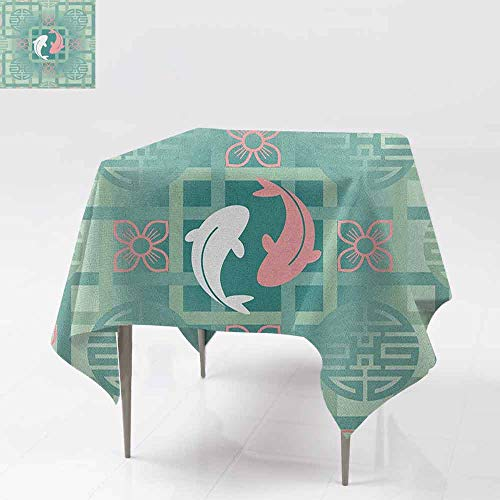 AndyTours Washable Tablecloth,Japanese,Dolphin Couple on Geometrical Featured Round