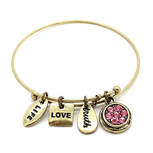 - KIS-Jewelry Symbology 'June' Birthstone Bangle Bracelet, Brass Plated - Expandable Wire Charm Bracelet with Pink Alexandrite Color Crystals - Perfect Jewelry for Fashion