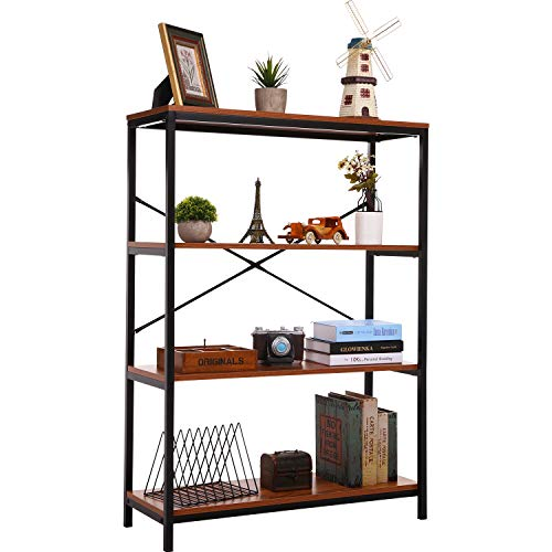 - PaPafix Bookshelf, Open Bookcase Modern Wide Book Shelf Wood Metal Industrial Bookcase Furniture Shelving Unit Storage 3 Tier Bookshelf