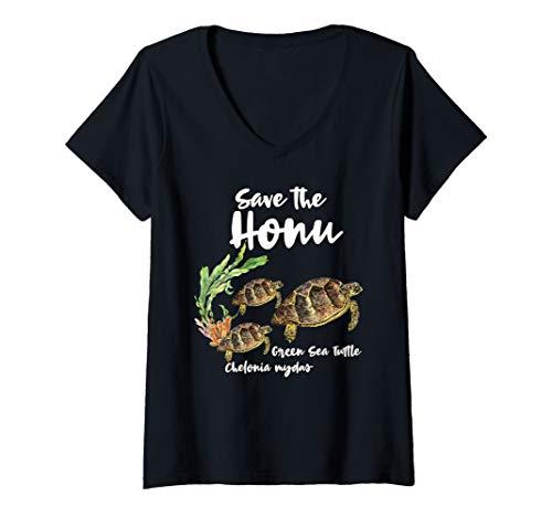 Womens Save the Honu Green Sea Turtle Marine Ocean V-Neck T-Shirt