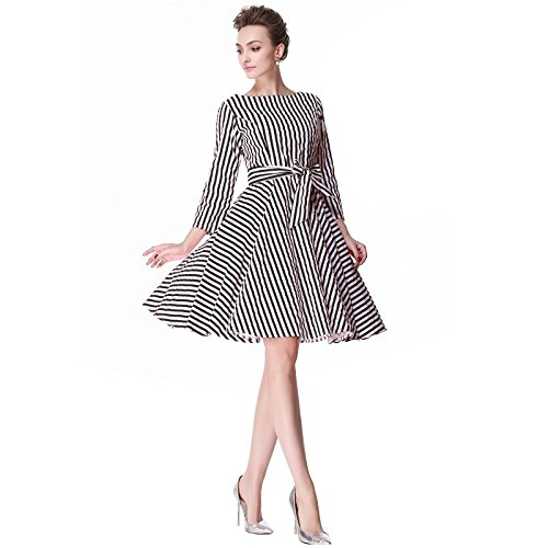 Heroecol 50s 60s Hepburn 3/4 Sleeve Style Vintage Retro Swing Rockailly Dresses Size L Color Black - Fashion Retro 60s