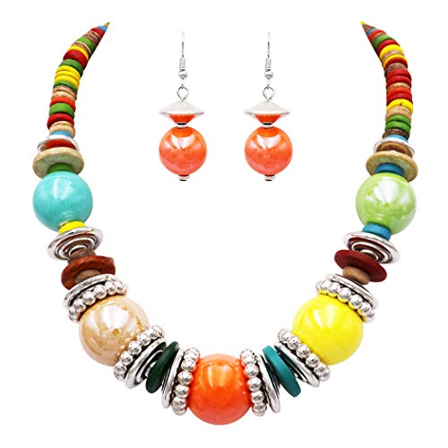 Rosemarie Collections Women's Colorful Boho Bauble Glass and Wood Beaded Bib Necklace Drop Earrings Set