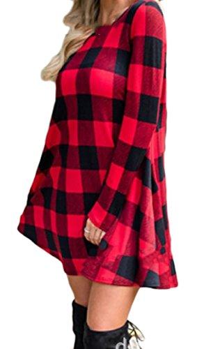 donne Partito 1 Lunghe Plaid A Allentato Contrasto Colore Maniche Vestito Girocollo Puro Coolred Del 1dvxwTT