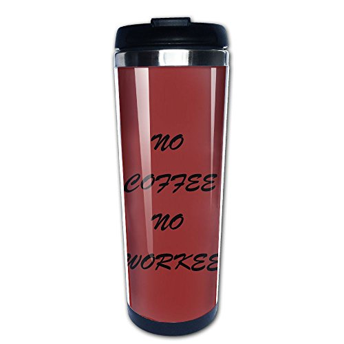 Vacuum Insulated Stainless Steel Water Bottle (400ml/13.4oz). Portable Coffee Tea Mug, For Home,Office,School,Travel - Works Great For Ice Drink, Hot Beverage, Print NO COFFEE NO WORKEE Logo, Dark Red
