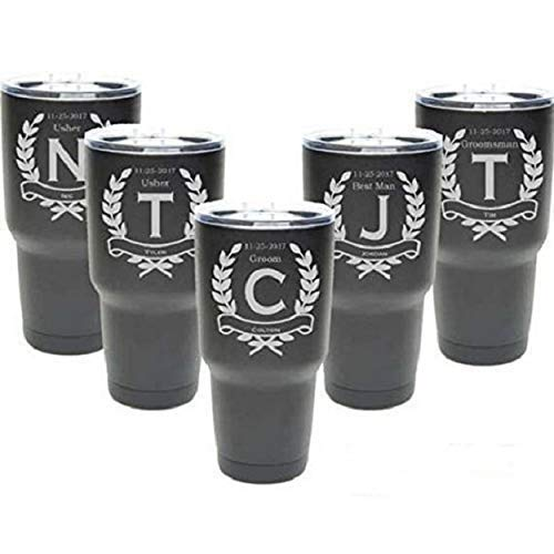 Groomsmen Tumbler - 30 oz - Set of 4 to12 - Stainless Steel Personalized Custom Engraved w/Clear Lid - Choice of Colors, Design & Spill Proof Slide Lids - Bridesmaid, Wedding, Bridal Party Gift ()