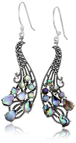 Sterling Silver Multi Shape Abalone Peacock Style Drop Earrings