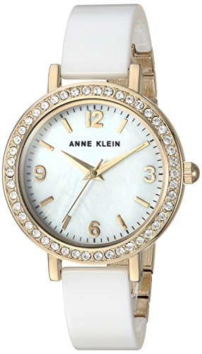 Anne Klein Women's AK/2348WTDB Swarovski Crystal Accented Gold-Tone and White Ceramic Bangle Watch ()