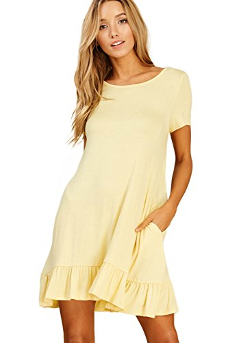 Sleeve Mini Banana Women's Swing Ruffle Pockets Bottom with Round Dresses Short Neck Comfy Annabelle zFwtqRt