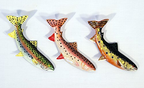Fish Fridge Magnet - Hand Painted Assorted Brook Trout Rainbow Trout Fish Refrigerator Magnet (Set of 3)