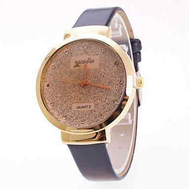 Relojes Hermosos, Mujer Reloj de Moda Chino Cuarzo Estrellado PU Banda Encanto Elegantes Negro Blanco