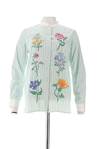 Bob Mackie Floral Embroidered Button Front Shirt Green L New A303013 Bob Mackie Embroidered Blouse
