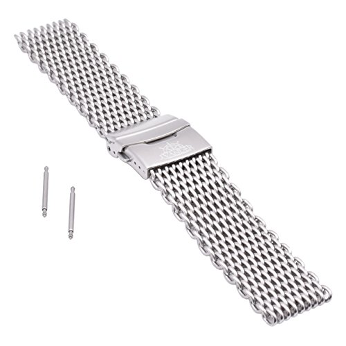 J.VANDER V.2 Milanese 316L Stainless Steel Shark Mesh Dive Watch Band Strap - Premium Clasp (20mm, Brushed Silver)