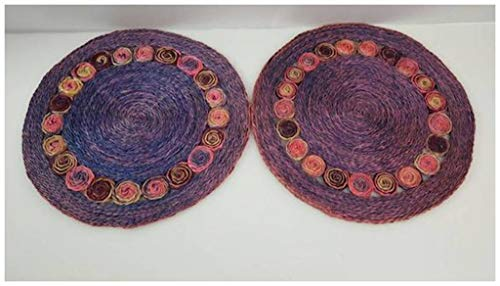 Viet's Hand Rattan Placemats - Round Rattan Placemats Woven Braided Dyed Pastel Purple Blue Pink Bohemian Home Kitchen Decor Organic Charger Table Mats Raffia Jute -