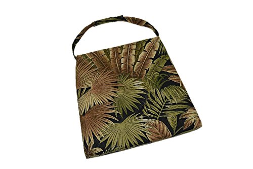 Furniture Seagrass Patio (In / Outdoor Soho Rattan Wicker / Banana Leaf / Seagrass Parson Chair Trapezoid Foam Seat Cushion w/ Strap - Tommy Bahama Bahamian Breeze Black Green Tropical Palm Leaf - 17