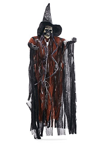 Hanging Undead Warlock Ghost Necromancer House Backyard Decor Halloween Parties (Black, Brown, (Halloween Decorating Ideas Inside)