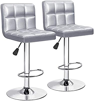 Sensational Furniwell Bar Stools Barstools Modern Square Pu Leather Adjustable Barstool Armless Counter Height Swivel Bar Stool With Back Set Of 2 Silver Squirreltailoven Fun Painted Chair Ideas Images Squirreltailovenorg