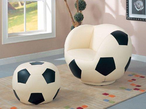 Children Soccer Swivel Chair And Ottoman Sports Set Children Furniture by Unknown