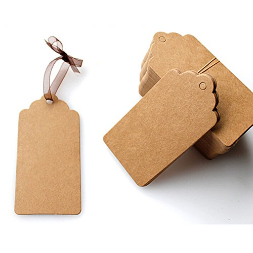 (Kraft Tag - 100 Pieces DIY Lace Scallop Head Label Luggage Kraft Paper Tags Brown Wedding Note Blank Hang Tag Kraft Gift 5x3cm)