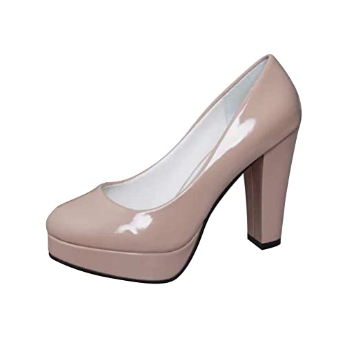 a44863eb140172 Tenthree Chaussures Femme Escarpins - Plateforme Bloc 10cm Bout Rond  Briller Charmes Pumps Confortable Chaussures d